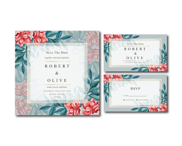 古典的な花ヴィンテージ水彩結婚式招待状