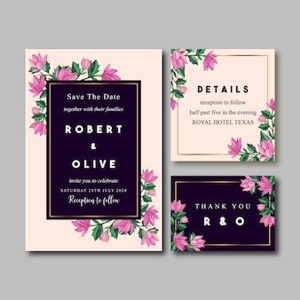 ピンクの蘭ビンテージ水彩結婚式招待状