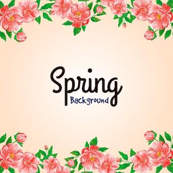 こんにちは春の花の水彩イラストの背景