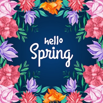 こんにちは春に咲く花と葉