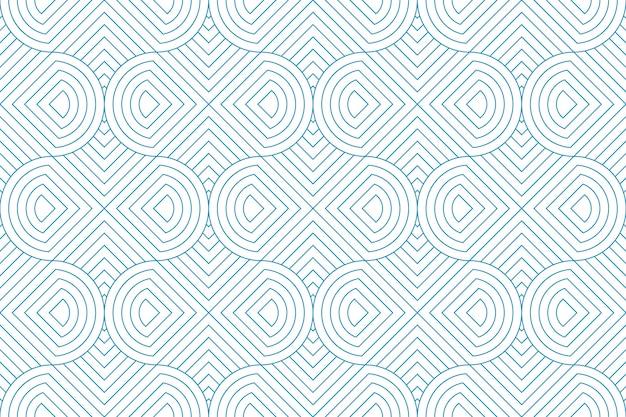 白い背景の上ライン幾何学的抽象パターンシームレスな青い線。