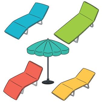 Векторный набор пляжной кровати