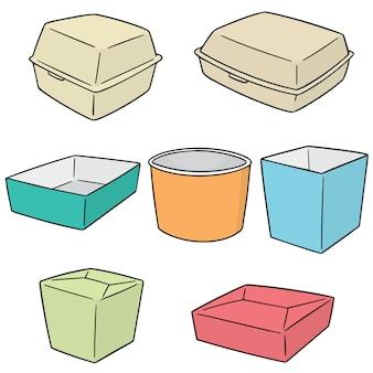 紙の食品容器のベクトルセット
