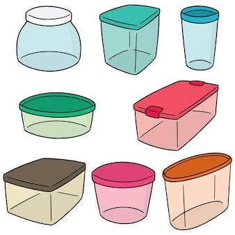 プラスチック容器のベクトルセット