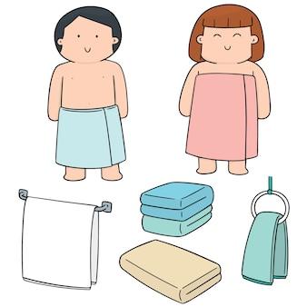 タオルを着ている人々のベクトルセット