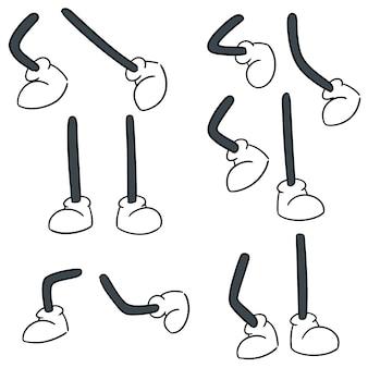 Векторный набор мультяшной ноги