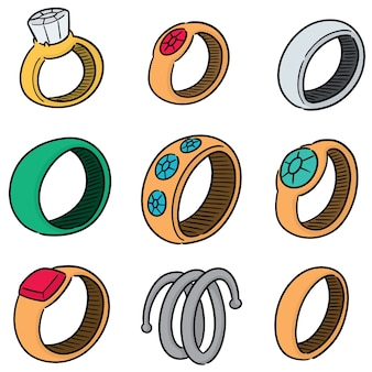 結婚指輪のベクトルセット