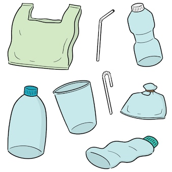 Векторный набор пластиковых объектов