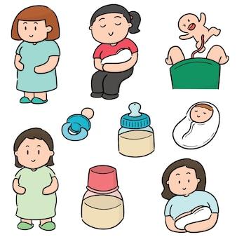 妊娠中の女性と赤ちゃんのベクトルセット