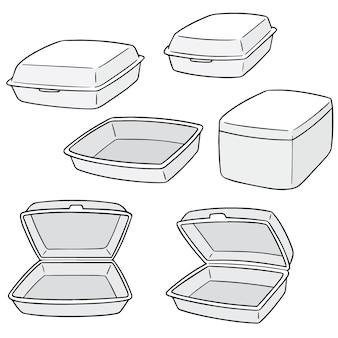 Векторный набор пенопластового контейнера