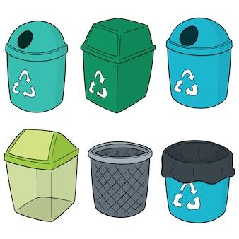 Векторный набор утилизации мусора