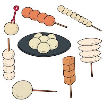 Векторный набор фрикадельки, рыбный шар, свиной шарик и шарик креветки