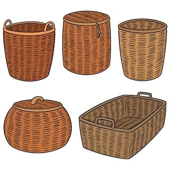 Векторный набор плетеных корзин