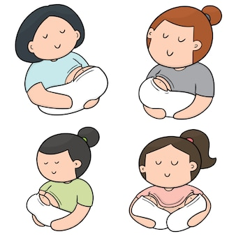 授乳中の母親と赤ちゃんのベクトルセット