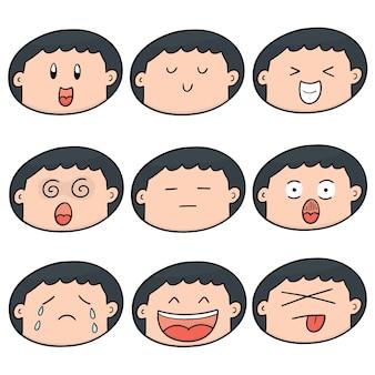 少年の顔のセット