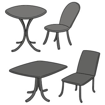 Векторный набор стола и стула