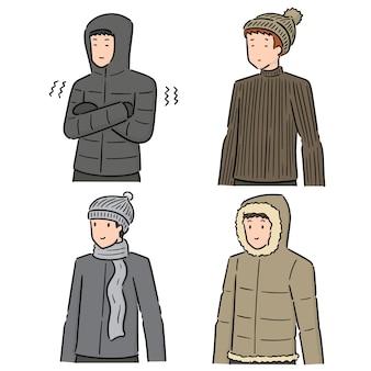 Векторный набор людей в зимней одежде
