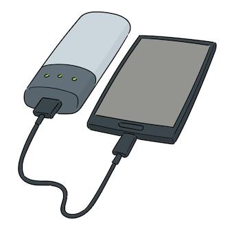 パワーバンク経由のスマートフォンチャージのベクトルセット