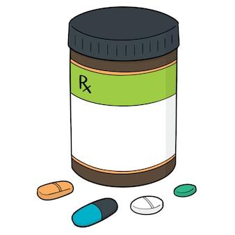 薬と薬瓶のベクトルセット