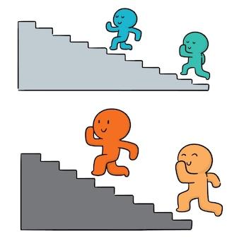 人々のベクトルセットは階段を歩く