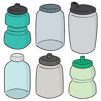 水ボトルのベクトルセット