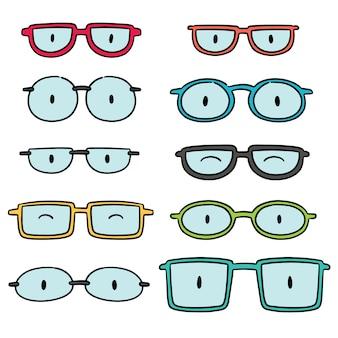 眼鏡のベクトルセット