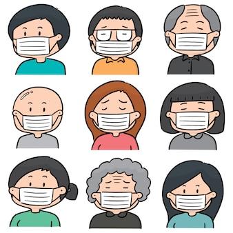医療用保護マスクを使用している人々のベクトルセット