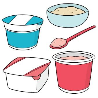 Векторный набор йогурта