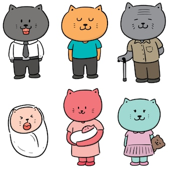Векторный набор семейства кошачьих