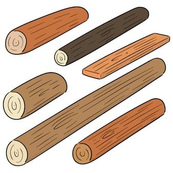Векторный набор деревянных пиломатериалов