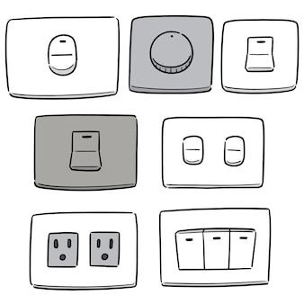 Векторный набор электрических выключателей и вилок