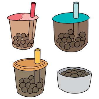 Векторный набор пузыря чай с молоком