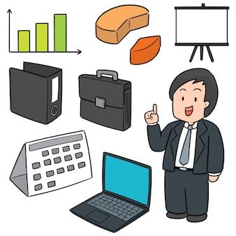 ビジネスマンとビジネスのアイコンのセット