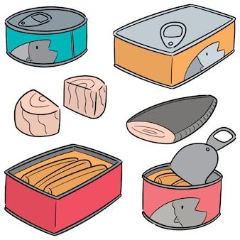 缶詰の魚のベクトルを設定