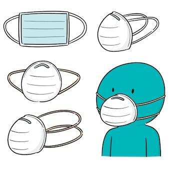 Векторный набор медицинской защитной маски