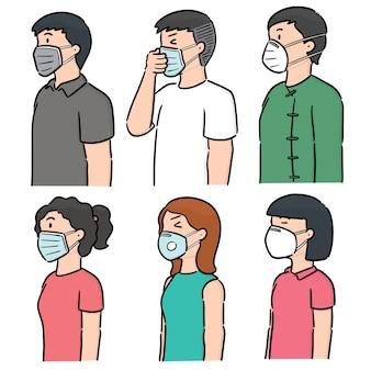 Векторный набор людей, использующих медицинскую защитную маску