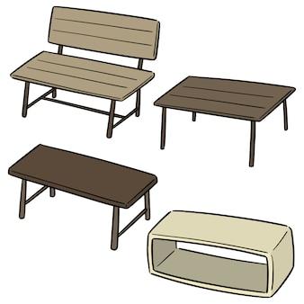 Векторный набор скамейки