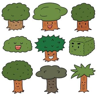 Векторный набор деревьев мультфильма