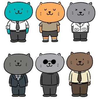 布を着て猫のベクトルを設定