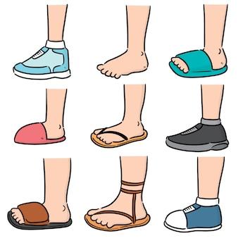 Векторный набор мультфильм ноги