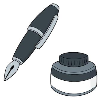 万年筆とインクボトルのベクトルセット