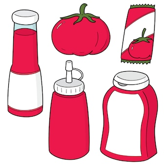 Набор из помидоров и томатного кетчупа