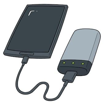 スマートフォンの電源銀行を介して充電のセット