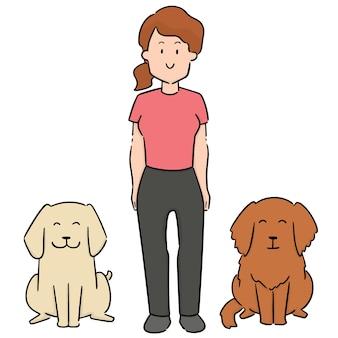 女性と犬のベクトルセット