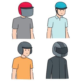 ヘルメットを身に着けている人々のセット