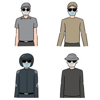 Множество людей, использующих медицинскую защитную маску