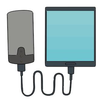 パワーバンク経由で充電するスマートフォンのセット