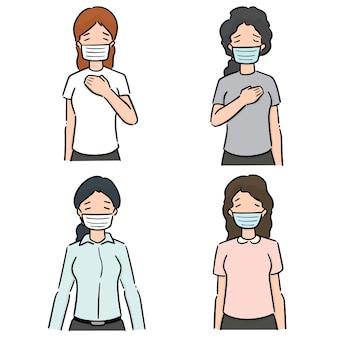 医療用保護マスクを使用して女性のセット