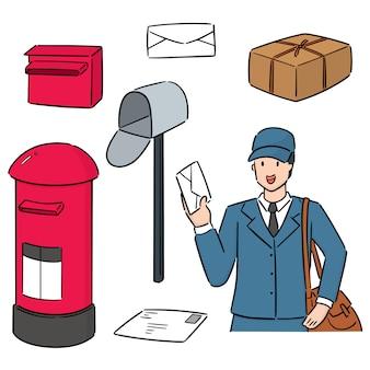 郵便配達員と郵便ポストのセット