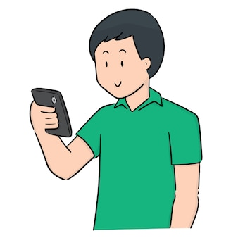 スマートフォンを使っている男のベクトル
